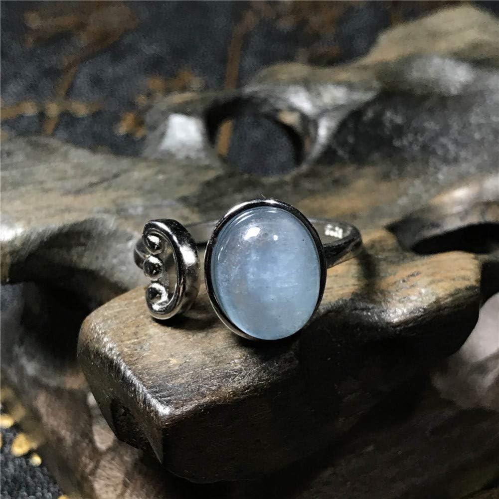 CTDMMJ Anillo de Aguamarina Azul de 10x8 mm para Mujer Lady Love Gift Gemstone Crystal Oval Beads Anillo Ajustable Jewelry