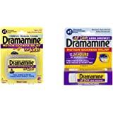 Dramamines Less Drowsy Motion Sickness Family Pack (1- Kids Chewable Grape 8 Tablets, 1- All Less Drowsy 8 Tables)