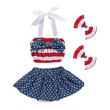 37504208d62 July 4th Baby Girls Flag Romper Dress Striped Stars Print Halter Sleeveless  Backless Bodysuit with Headband