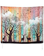 "Psychedelic Tapestry Wall Hanging 51"" x 59"" 3d Tapestry Mandala Tapestry with Elk Forest Birds Patterns Tree of Life Tapestry Hippie Bohemian for Bedroom Living Room Dorm Decor"