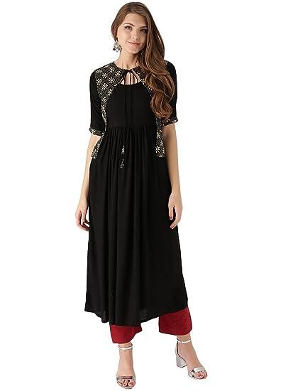 6cc6a98f1 Libas Women s Anarkali Rayon Kurta  Amazon.in  Clothing   Accessories