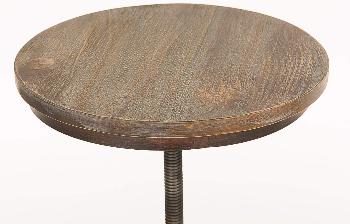 CLP Tabouret de bar TUDOR tabouret de comptoir stable hauteur r/églable 67-84 cm Bronze en bois et m/étal style industriel