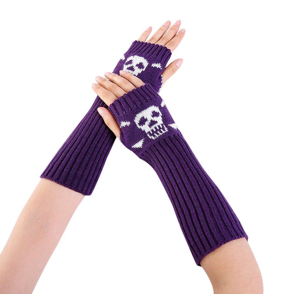 Women Winter Wrist Arm Warmer Skull Knitted Long Fingerless Gloves Mitten PP