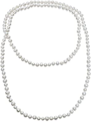 VINTAGE white resin 36 inches pearl necklage