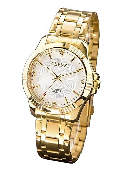 chenxi Reloj analógico de cuarzo para hombre, acero, elegante, Reloj de Lujo ,