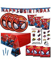 Spiderman Theme Birthday Party Supplies Set - Serves 16 - Banner, Table Cover, Plates, Cups, Napkins, Tattoos, Button, Candles