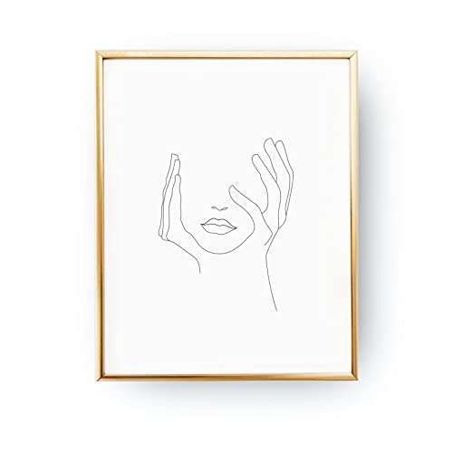086dcc52dbad9 Amazon.com: Hands On Face, Lips Print, Black And White, Sketch Art ...