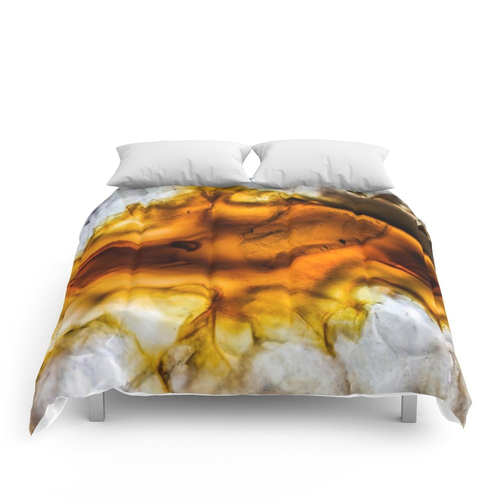 Society6 Honey Amber Agate Frozen In Time Comforters Queen: 88'' x 88''