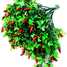 Lopkey Artificial 7-Branch Pepper Fruit Chili Bunch Fake Plant Party Office Decor(Pack of 2)