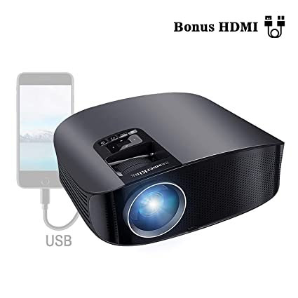 Proyector HD, BeamerKing LED Proyector Video Portátil 3500 Lúmenes Soporte Full HD 1080P USB VGA HDMI AV, Compatible con Smartphones iPhone iPad PS4 ...