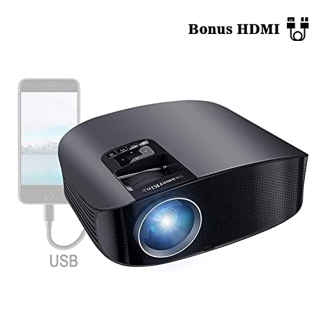 Proyector HD, BeamerKing LED Proyector Video Portátil 3500 Lúmenes Soporte Full HD 1080P USB VGA HDMI AV, Compatible con Smartphones iPhone iPad PS4 ...