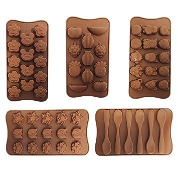 Set de 5 Bandejas con Moldes de Silicona para Dulces de Chocolate de CurtzyTM: Amazon.es: Hogar