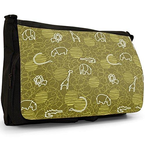 Tracolla Tela nbsp; Grande Snuggle In Messenger Ippopotamo Nero Giraffa Elefante Fancy Disegno Leone A CqOwn7vx6