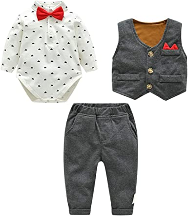 Fairy Baby Baby Boys 3pcs Costume Formel Toddlers Gentleman Body Pantalon Gilet