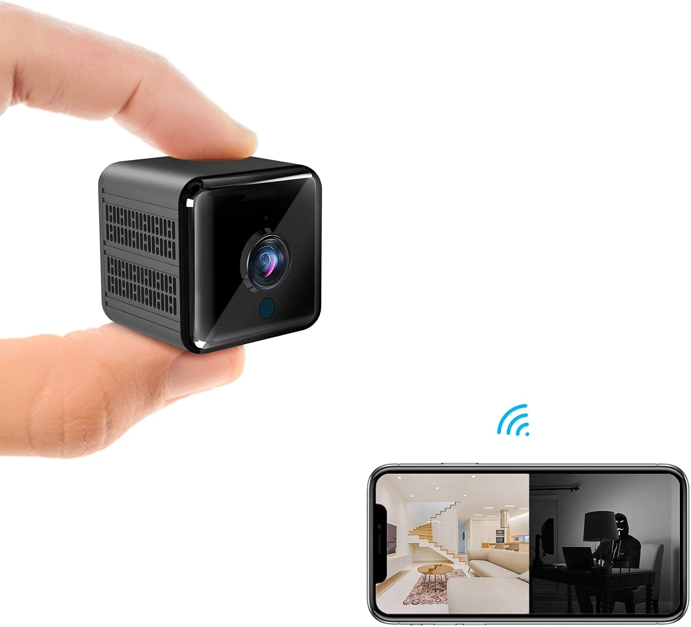 Spy Camera Super Night Vision KINGDANS Hidden Camera 1080P- Mini Camera,Nanny cams Wireless with Cell Phone app, Motion Detection,Video Share,Mini Security Camera for Indoor/Home/Hotel/Warehouse