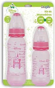 Kit de Mamadeiras 240 ml e 150 ml Orto Silicone Blister, Disney Baby Go, Rosa