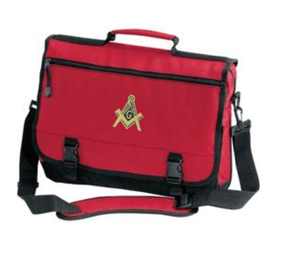 Masonic Briefcase with Gold Embroidered Design IHO-SIM-MASO-BFC-B