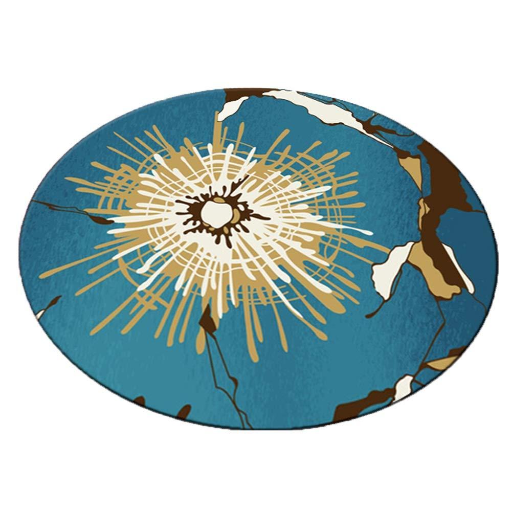 TINGTING-ラグ,カーペット ラウンドリーフ花火の装飾保護フロアショートヘア印刷ウォッシュベッドサイド (色 : Blue sea globe, サイズ さいず : 200) 200 Blue sea globe B07RK63JD8