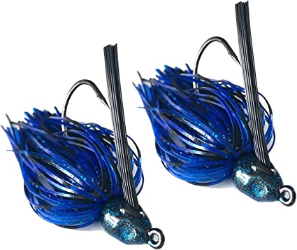 3 Black Blue 1//2 oz Football Jigs with matching Craw trailers