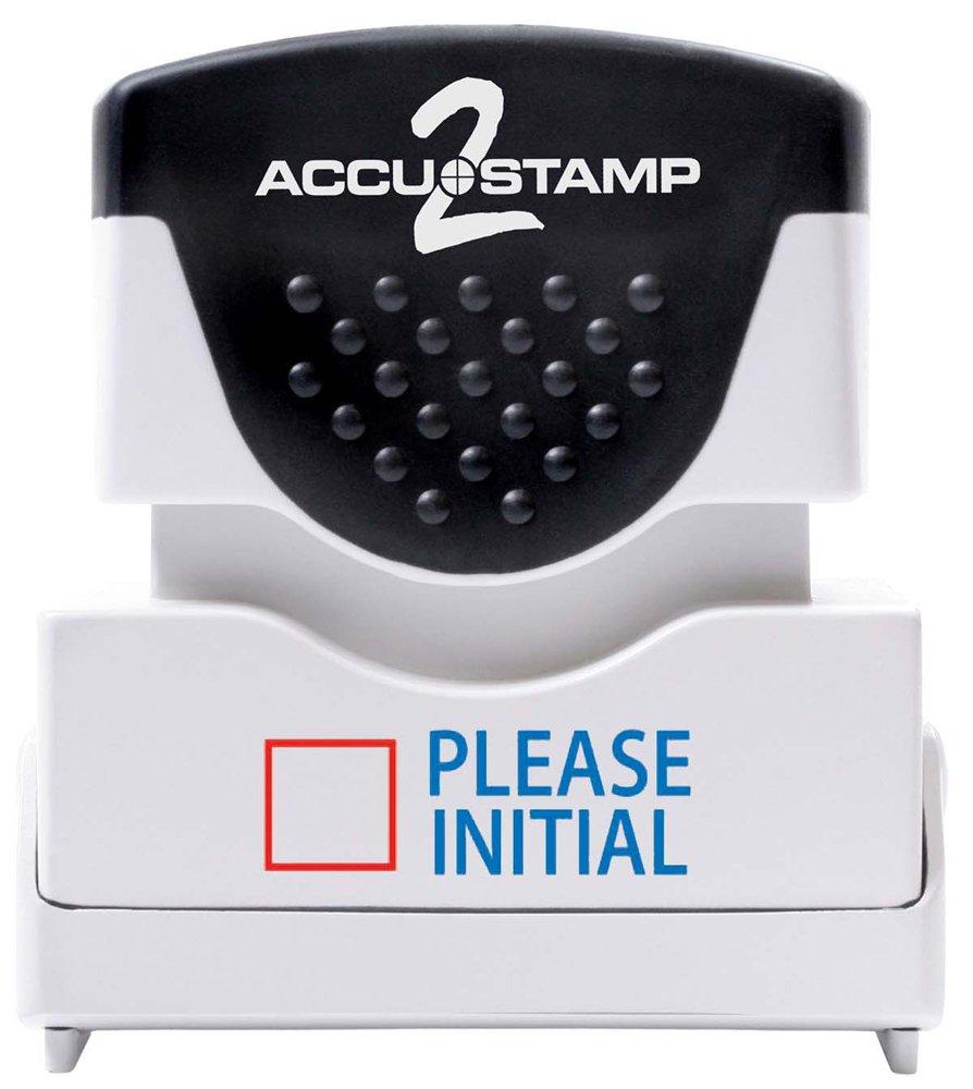 accustamp mensaje sello sello sello con Micro Ban protección, por favor inicial, pre-ink, rojo y azul de tinta (035527) b204cf