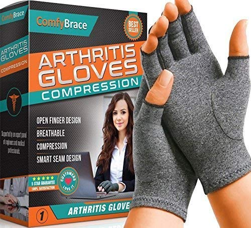 Comfy Brace Arthritis Hand Compression Gloves - Comfy Fit, Fingerless Design, Breathable & Moisture...