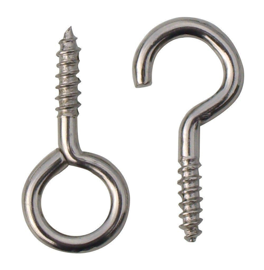 2 X 20 x Hooks and eyes 25mm net wire curtain screws - 10 x hooks & 10 x eyes Generic