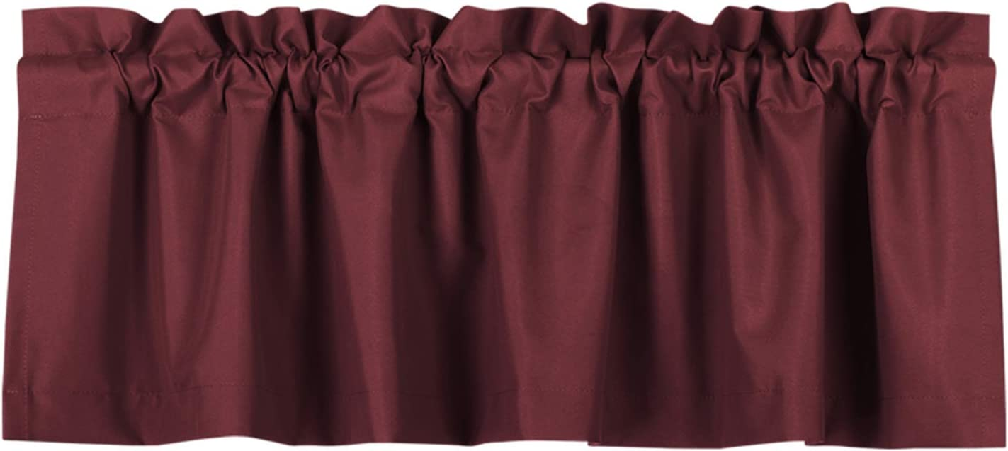 Valea Home Blackout Valance Curtains Waterproof Soft Rod Pocket Valance for Kitchen and Bathroom Window Room Darkening Valances for Bedroom, 52 inch x 18 inch, Burgundy Red