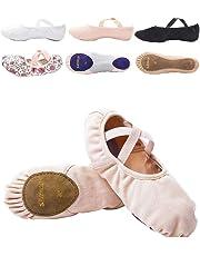s.lemon Elasticated Pink Canvas Ballet Dance Shoes Slippers Split Sole for Kids Girls Women