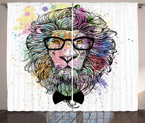 Ambesonne Fashion House Decor Curtains by, Hipster Lion with Glasses and Bowtie King of Animals Splash Style Art, Living Room Bedroom Window Drapes 2 Panel Set, 108W X 84L Inches, Purple Black by Ambesonne