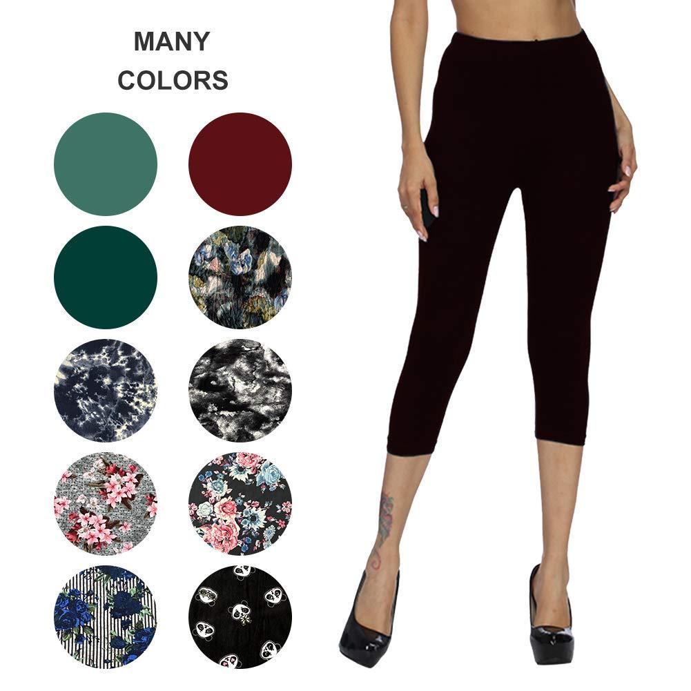 ZOOSIXX Capri Leggings for Women – Extra Soft Printed Floral Capri Pants for Summer (Plus Size (US 12-24), Black)