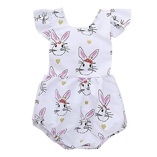 b530b1bcb60b Amazon.com  NUWFOR Newborn Infant Baby Girl Cartoon Floral Rabbit Print  Romper Bodysuit Clothes  Health   Personal Care