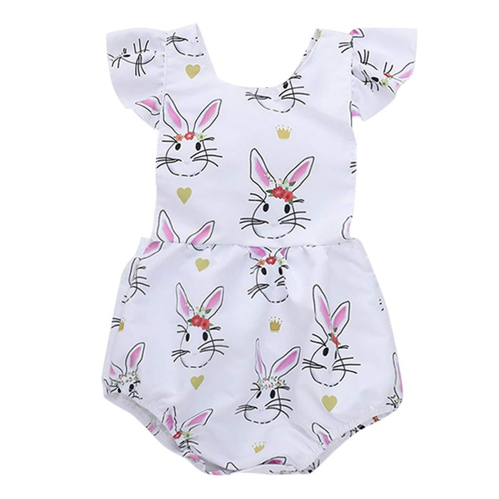 NUWFOR Newborn Infant Baby Girl Cartoon Floral Rabbit Print Romper Bodysuit Clothes (White,9-12Months)