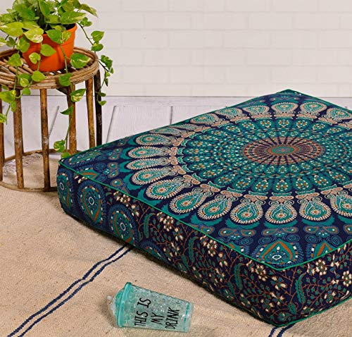 Popular Handicrafts Indian Hippie Mandala Floor Pillow Cover Square Ottoman Pouf Cover Daybed Oversized Cotton Cushion Cover with Heavy Duty Zipper Seating Ottoman Poufs Dog-Pets Bed 35