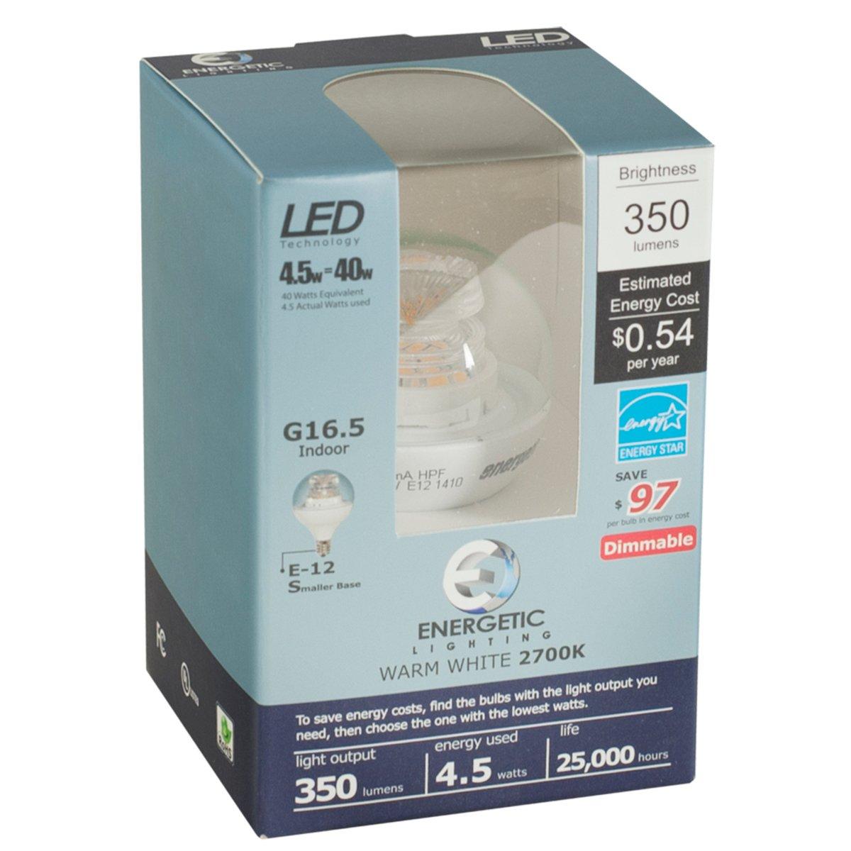 g16.5 LED電球4.5 W e12ベース調光( 40 W Equiv ) 350ルーメンbyエネルギッシュ照明 B01N0NXXJS