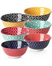 DOWAN Porcelain Cereal Bowls, 23 Fluid Ounces Vibrant Colors Soup Bowls, Cute Oatmeal Bowls for Pasta, Small Salad, Stews, Rice, Microwave and Dishwasher Safe, Lightweight, Set of 6