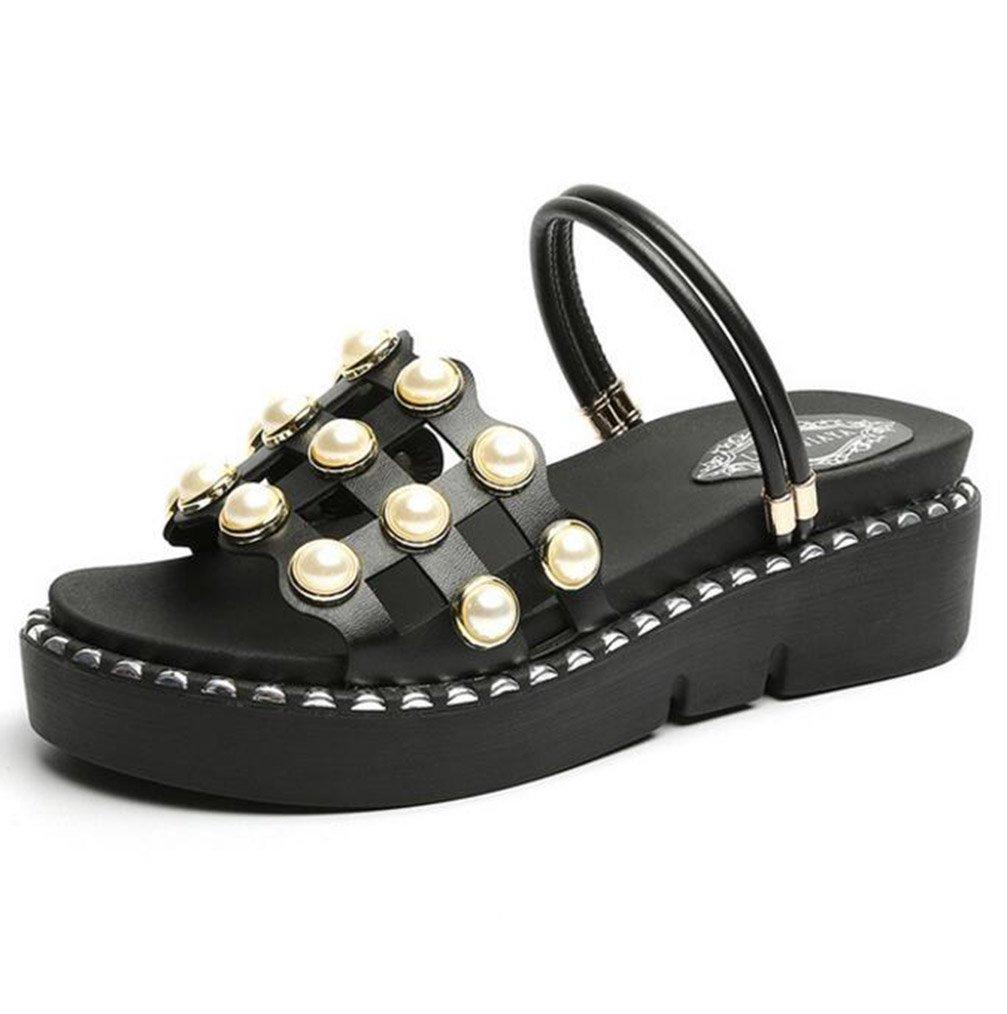TWGDH Sandalen Flache Schuhe Dicke Untere Keile Fersenplattform Frauen Peep-Toe Rouml;mische Alias ??Casual Strand Flip-Flops Schuhe  37|Black