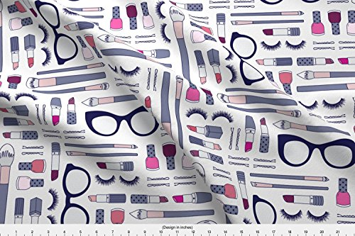 Makeup Bag Fabric Beauty Haul | Grey by Elizabethattwood Printed on Organic Cotton Sateen Ultra Fabric by the Yard by - Haul Sunglasses