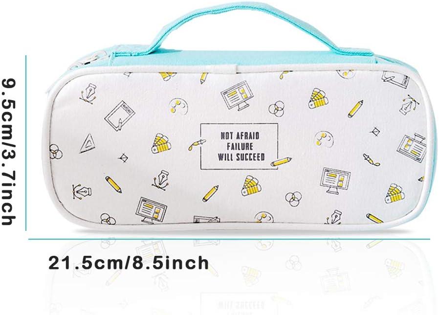 Bleu iSuperb Trousses Scolaire Multi-Functional Papeterie Pouch Grande Capacit/é Plumier /Étui /à Crayons Pencil Case Cosm/étique Bag