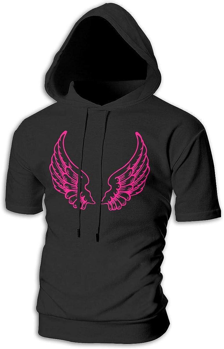 CHETI Mens Pink Wings Pullover Short Sleeve Hooded Shirt