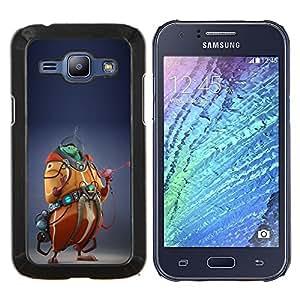 Monster Cgi Computer Graphics extranjero- Metal de aluminio y de plástico duro Caja del teléfono - Negro - Samsung Galaxy J1 / J100