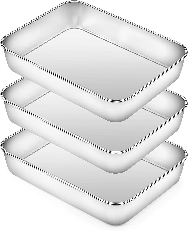 Rectangular Baking Pan Lasagna Pan Set of 3, Deedro 9 Inch Rectangular Cake Pan Stainless Steel Brownie Pan, Deep Baking Pans for Toaster Oven, Healthy & Durable, Brushed Finish & Dishwasher Safe