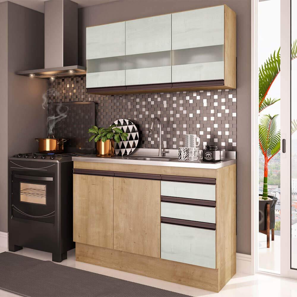 Cozinha Compacta 2 Peças A2699 (Não acompanha Pia) Amália Casamia Nogueira/Snow