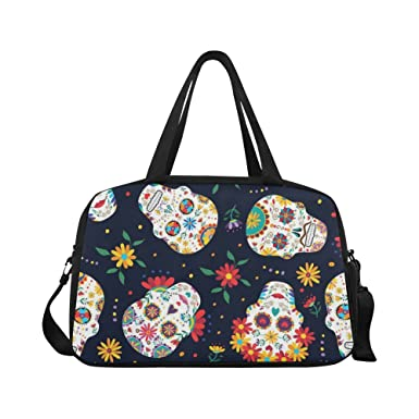 454ed934c4d8 InterestPrint Day of the Dead Sugar Skull Seamless Vector Backgr Travel Duffel  Bag Sports Gym Bag