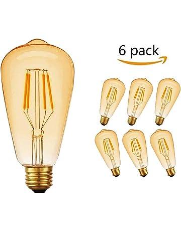 Edison Vintage Bombilla LED, massway 6 Piezas LED Retro Edison Bombilla E27 4W ST64 2700K