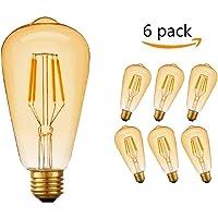 Ampoule LED Edison, Massway 6 paquets E27 Rétro Antique Lampe décorative, 4W, 2700K Blanc Chaud (LED)