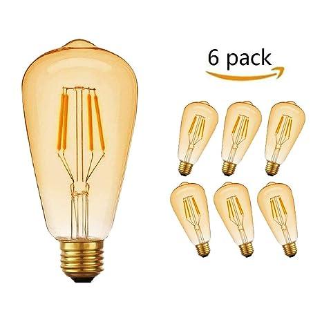 led edison bombillas vintage E27 rosca Edison lámpara 4W ST64 2700K luz blanca cálida bombilla retro