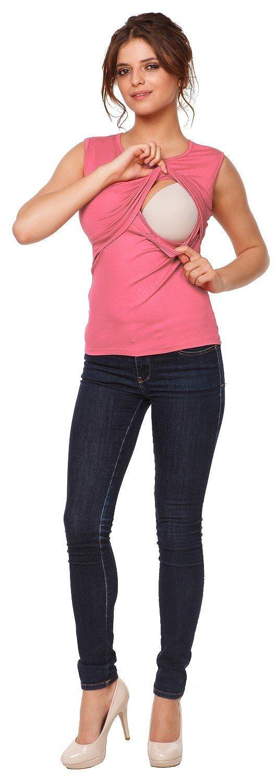 997p Mujer top camiseta premam/á lactancia cuello redondo doble capa Happy Mama