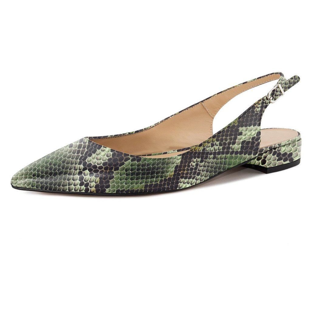 Eldof Women Low Heels Pumps | Pointed Toe Slingback Flat Pumps | 2cm Classic Elegante Court Shoes B0732YVTTK 9 B(M) US|Python-green
