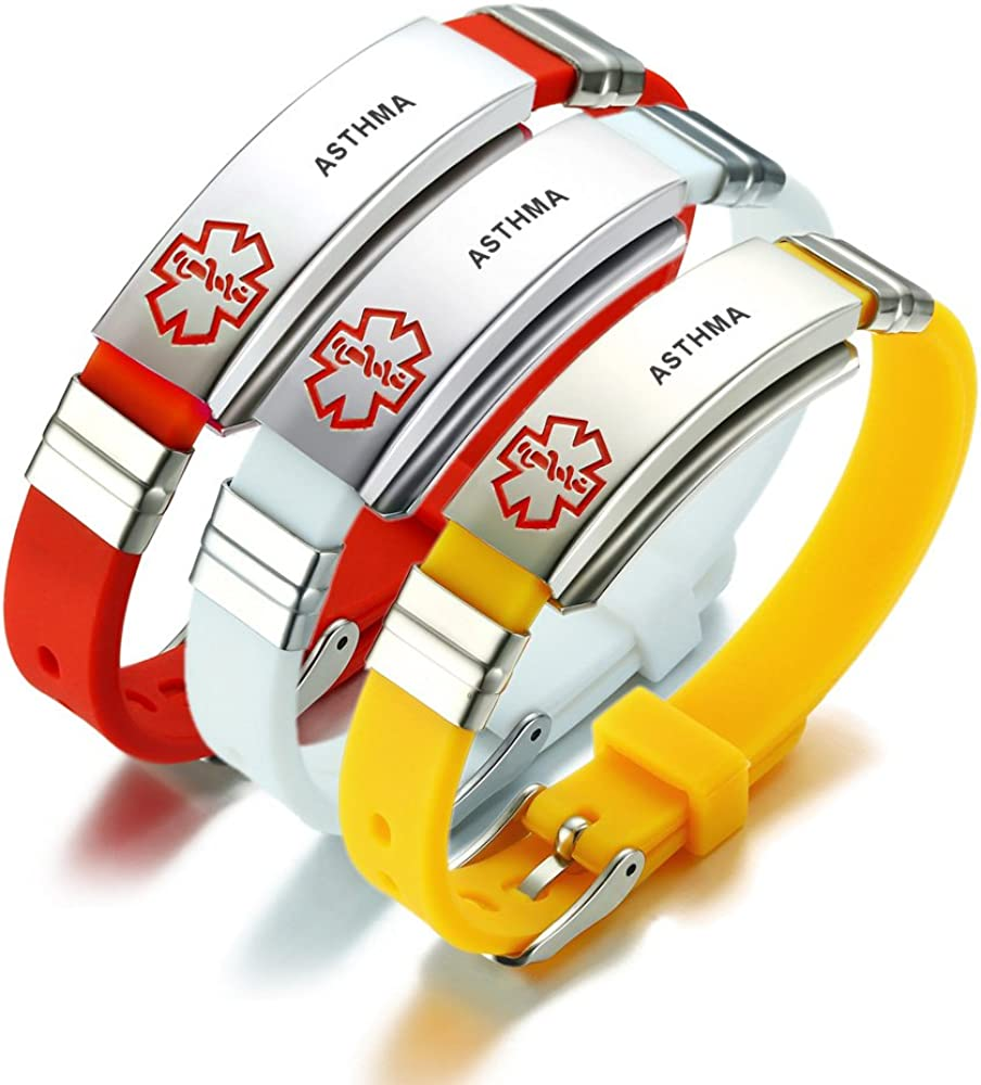 MEALGUET Type 1 Diabetes Silicone Comfort Outdoor Sport Wristband Emergency Medical Alert ID Bracelet for Men Women