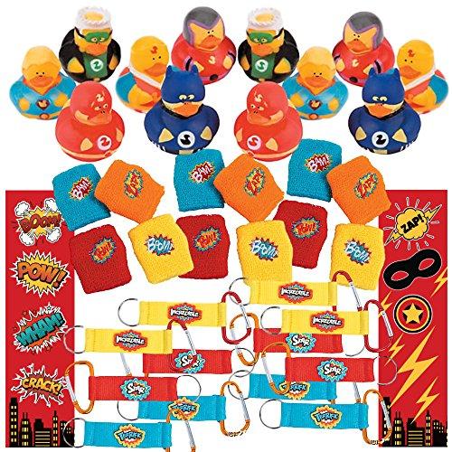 Superhero Party Supplies (48 Piece Party Favor Set) 12 Superhero Rubber Ducks, 12 Carabiner Keychains, 12 Superheroes Wristbands, 12 Super Hero Bookmarks - Bulk Kids Birthday Assortment - Rubber Superhero Ducks